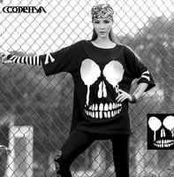 CQ-33 new 2014 Autumn harajuku shirt 3 M reflective big skull Loose Hip hop shirt cotton Half sleeve rock style women punk rock