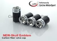 real 100% Carbon Fiber Metal Tyre Tire Valve cap Wheel Dust Cap Cool Skull Emblem Accept MIX Car Logo Fit For All Car