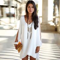 FanShou Free Shipping 2014 Summer Dress European Fashion Women Dress Long Sleeve V Neck Sexy Loose Casual Chiffon Dress 5678