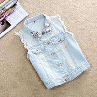 2014 New Summer Fashion Women's Turn-down Collar Rivet Tops short waistcoat Diamonds Sleeveless Women Denim Outerwear Jean Vest