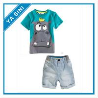 2014 New Boys Summer Clothing Sets Kid Apparel hippo T-shirt+Shorts 2pc/set free shipping