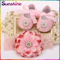 Diamond/pearl Crib baby Shoes Headband set,fashion shabby flowers sapato de bebe,Rhinestone shoes infant girls #2T0004 4 set/lot