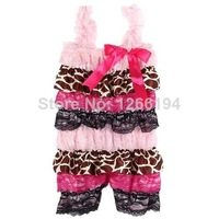 Newborn Babies Clothes  Fashion Toddler Baby Leopard With Lace Ruffle Rompers With Straps And Ribbon Bow Free Shipping
