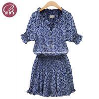 Summer Dress 2014 Women Floral Print Short Sleeved Slim Dress Ladies Cotton Casual Dress