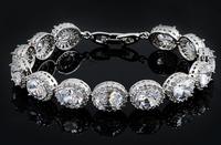 Luxurious Oval Zircon Bracelet For Women Top AAA Zirconia Platinum Plated Jewelry Accessories