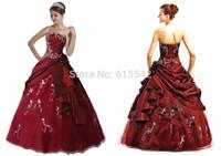 Stock Burgundy Strapless Neck Embroidery Ball-Gown Quinceanera Dresses Sleeveless Taffeta Floor Length Size2 + 4+6+8+10+12+14