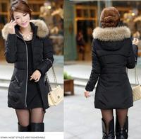 New 2014 winter coat women thicken Slim female raccoon fur hooded Mid-long jackets women Down & Parkas casacos femininos outdoor