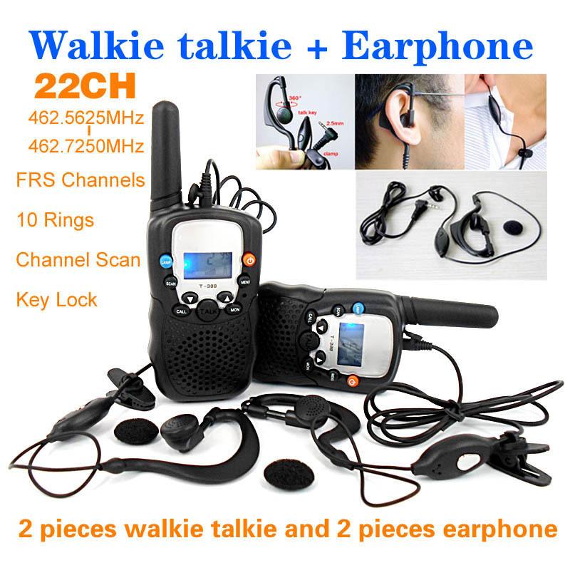 T-388 22 Channels Monitor Function 2 piece Mini Walkie Talkie Travel Two Way Radio Intercom + 2 piece Earphone and Retail box(China (Mainland))