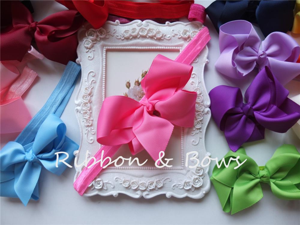 Free shipping Mixed 20 colors! FOE elastic headband with 4 inches hair bows 40 PCS/LOT baby toddler girls stretchy hairband(China (Mainland))
