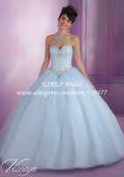 Fashion Crystal Corset Light Blue Quinceanera Dresses 2014 Ball Gowns MQ088 Vestido de 15 anos