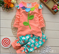new children autumn suit girls o-neck flower t-shirt + floral pants kids spring sport suit 3 style free shipping 2~6 age
