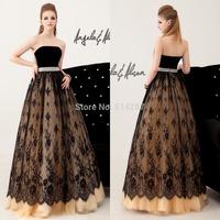 2015 New Fashion Elegant Black Lace Evening Dresses Long A Line Crstal Waist Women Prom Party Dress Vestido De Festa Longo