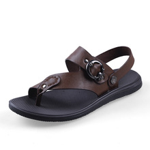 Free shipping! fashion summer men's leather sandals 100% Head layer cowhide slippers men big size sandals(China (Mainland))