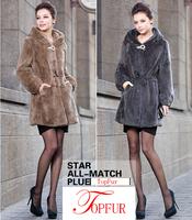 EMS/DHL Free Shipping Women Fashion Brand Real Genuine Natural Rex Rabbit Fur Coat for Winter Long Jacket FP318