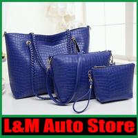 2014 new fashion handbags crocodile pattern leather shoulder handbags Mobile Messenger bag ladies chain free shipping C33