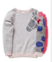 high quality brand design children girl tassels zebra sweater pullovers knitwear