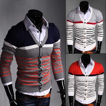 Бесплатная доставка осень мужчины свитер с длинным рукавом красочный полноценно V воротник мужской джемпер трикотаж мужской тонкий свободного покроя свитера