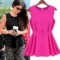 New 2014 Summer Women Fashion Blouse Pleated Chiffon Tops Tulle Sleeveless Vest Bottoming Shirt Plus Size Casual Dress Vestidos