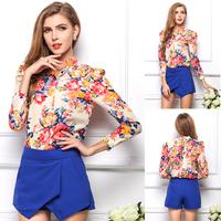 SZ036 2015 Women's Spring Summer Blouses Vintage Floral Print Long Sleeve Shirt For Women,2015 Fashion Tops Blusas Femininas S&Z