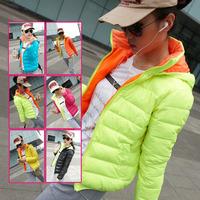 Free shipping  2014 new lady trendy bright lines slim fashion casual short down jacket women size XL,XXL,XXXL 7010