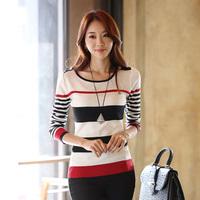 OVO!2014 new cute korean style suits autumn-winter render sweater Long sleeve stripe slim sweaters F.SZ.W.224