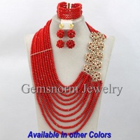 Amazing Bright Red Wedding Nigerian Beads Jewelry Set 2014 New Design Costume Jewelry Set Free Shipping GS411