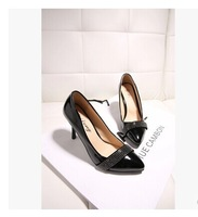 2014 autumn high-heeled rhinestone pointed toe shoes fashion brief ol female high-heeled shoes thin heels