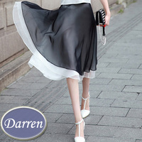 New Style 2014 Summer Elegant Chiffon Pleated Skirt Black and Pink Fashion Ladies Organza High Waist Skirts Plus Size 3XL