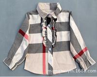 Plaid Long sleeve Girls Blouses Children's Shirts 2-6Y