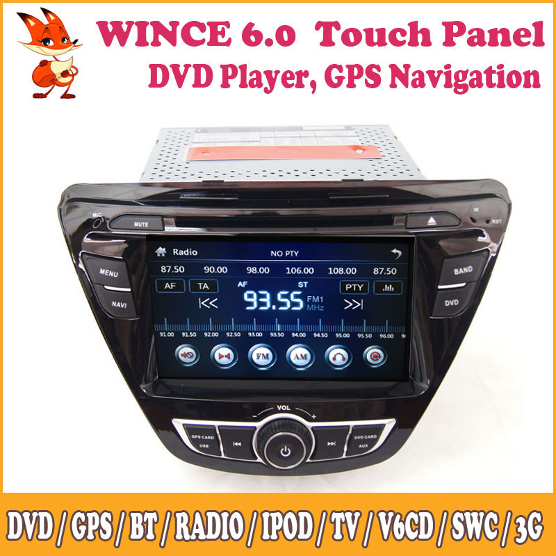 Wince Car Radio Stereo Support Bluetooth GPS DVD iPod 3G SWC Front&Rear View Camera Input For Multimedia Hyundai 2014 Elantra(China (Mainland))