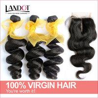 Unprocessed 6A Virgin Malaysian Loose Wave With Closure 4Pcs Lot Malaysian Body Wave Hair Lace Base Closures Landot Hair On Sale