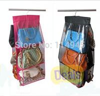 Fashion 6 Pocket Hanging Bag Purse Storage Organizer  Closet Rack Hangers, Free shipping