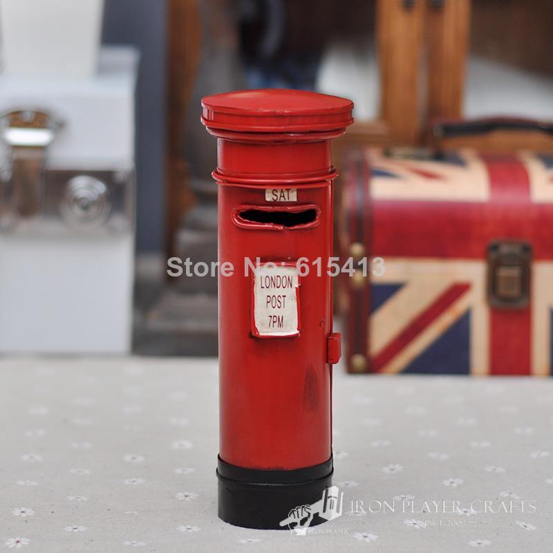 London the model of the mailbox postbox, iron piggy bank saving pot handmade crafts,antique decoration gift,free shipping(China (Mainland))