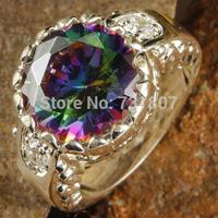 New Fashion  Elegant Rainbow  & White Topaz  Silver Ring Size 7 8 9 10 11 12 Jewelry Stone Wholesale Free Shipping For Gift