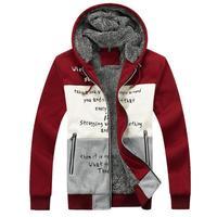 Add Plush Thicken Men Winter Coat Warm Outerwear Size M-2XL Korean Letter Print Fashion Man Casual Hooded Jackets