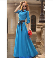 New 2014 Spring Summer Women Fashion Bohemian Long Beach Ultra Slim Mopping The Floor Dress Full Trench One-piece Dress LQ4468