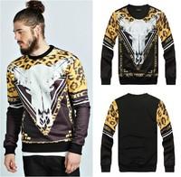 2014 Versa Hip-hop style men women's Leopard grain horsehead chains 3d print pullover GIV Brand Galaxy Sweatshirts Hoodies Tops