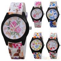 Women Fashion Silicone Band Flower Printed Jelly Sports Analog Quartz Wrist Watch women dress watch 1NDE