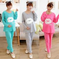 Cotton Maternity Kiss Printed Sleepwear Pregnant Pajamas Nursing Tops+Pants Breast Feeding Nightgown Clothes For Pregnant Women
