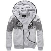 ADD Fleece Man Winter Hoodies Jackets Plus Size L-3XL Brand Popular Printed  Fur Lining Men Thick Warm Coats Outerwear