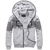 ADD Fleece Man Winter Hoodies Jackets Plus Size L-3XL Brand Popular Printed  Fur Lining Men Thick Warm Coats Outerwear