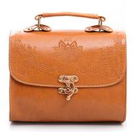 Vintage handbags retro bags leather with strong handle designer flower print metal gold botton shoulder bag yellow brown 8colors