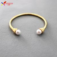 2014 new hot fashion pop Gold alloy designer Double Samll faux pearls cuff bracelets & bangles for women bijoux wholesale