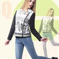 Women 2014 new autumn winter jacket short turn-down collar scenery print patchwork coat plus size ladies 3XL outwear DF14W002