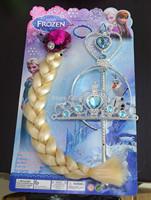 Frozen Headware Princess Elsa Wig + Magic wand + Frozen Crown Frozen Cosplay Accessories 10pcs/Lot