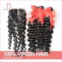 Brazilian Deep Wave With Closure Braiding Virgin Brazilian Hair Curly 3Bundles Add 1pc Middle Part Lace Top Closures Landot Hair