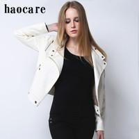 New women 2014 autumn winter Leather Jacket white structured shoulder stud zip biker leather coat plus size short coat  DF14P003