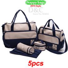bolsa multifuncional 5pcs/set maternidad bolsas de pañales bebé pañal maternidad bolsas dama bolsas bolso bolsas de mensajero pañales(China (Mainland))