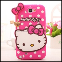 For Samsung Galaxy NOTE2 NOTE3 N7100 N9000 Silicone Lovely Cute Hello kitty Polka Dots Case Back Cover for sansung Capa Celular