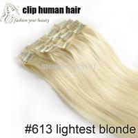 70g Hair Extension 15'' Full Head Clip in Human Hair Extensions Clip in 100% Human Hair Lightest Blonde #613
